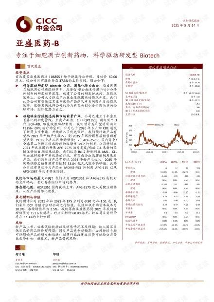 20210514-中金公司-亚盛医药~B-6855.HK-专注于细胞凋亡创新药物,科学驱动研发型Biotech.pdf