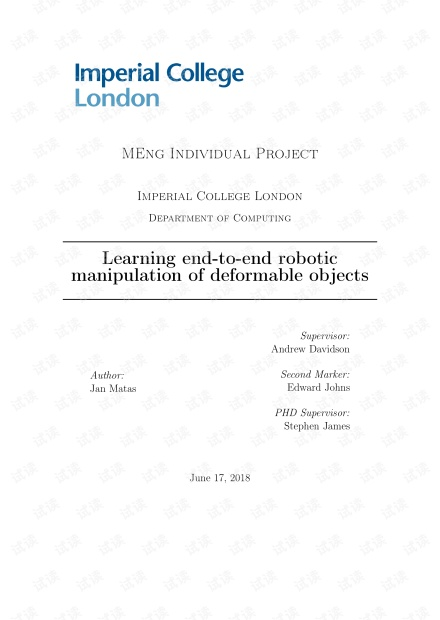 Learning end-to-end robotic manipulation of deformable objects