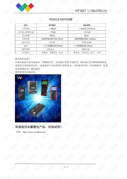 医疗仪器显示低功耗LCD驱动芯片原厂VKL076与HT1621对比PDF资料