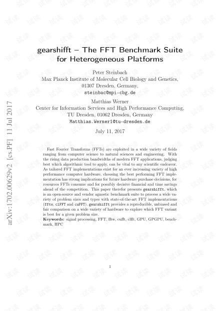 gearshifft – The FFT Benchmark Suite for Heterogeneous Platforms.pdf