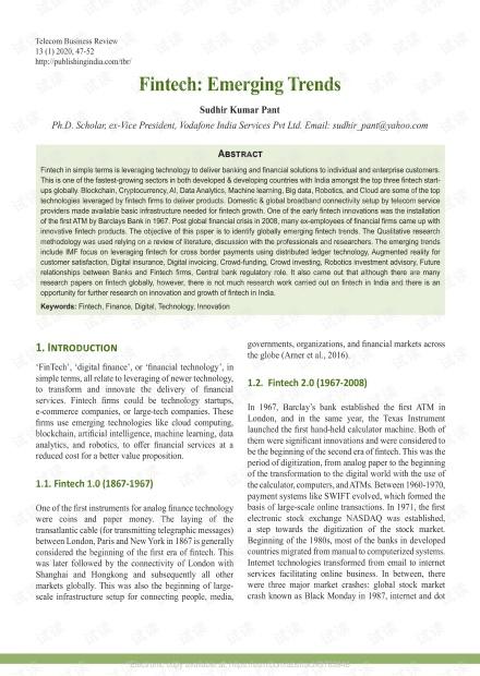 金融科技:新兴趋势-研究论文