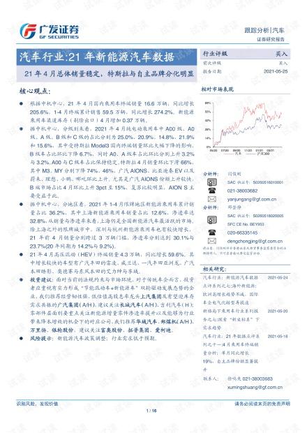 20210525-广发证券-汽车行业21年新能源汽车数据:21年4月总体销量稳定,特斯拉与自主品牌分化明显.pdf