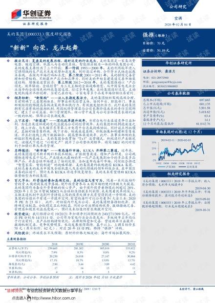 """20200204-华创证券-美的集团-000333-深度研究报告:""""新新""""向荣,龙头起舞.pdf"""