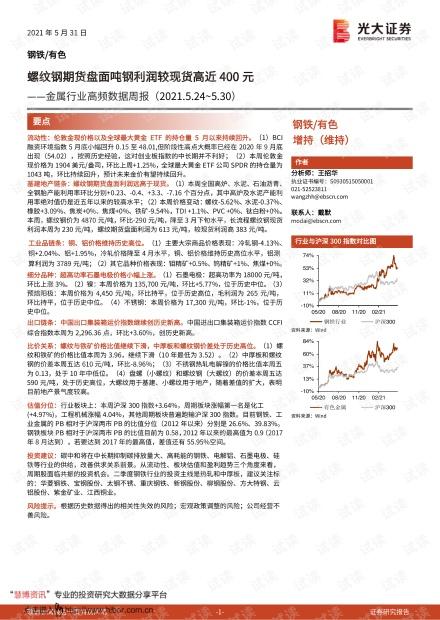 20210531-光大证券-金属行业高频数据周报:螺纹钢期货盘面吨钢利润较现货高近400元.pdf