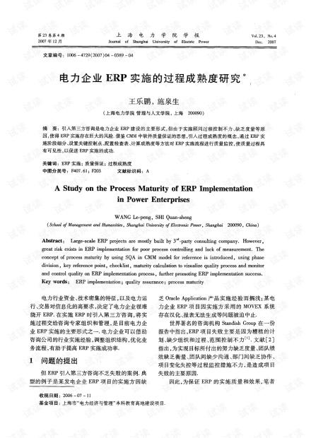 电力企业ERP实施的过程成熟度研究* (2007年)