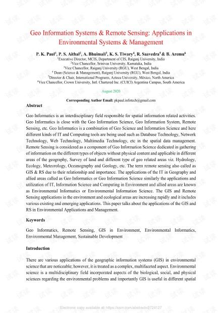 地理信息系统和遥感:在环境系统和管理中的应用-研究论文
