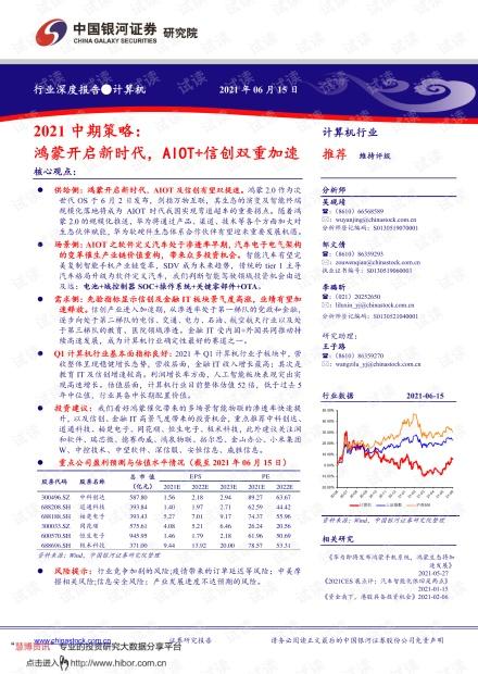 20210615-银河证券-计算机行业2021中期策略:鸿蒙开启新时代,AIOT+信创双重加速.pdf