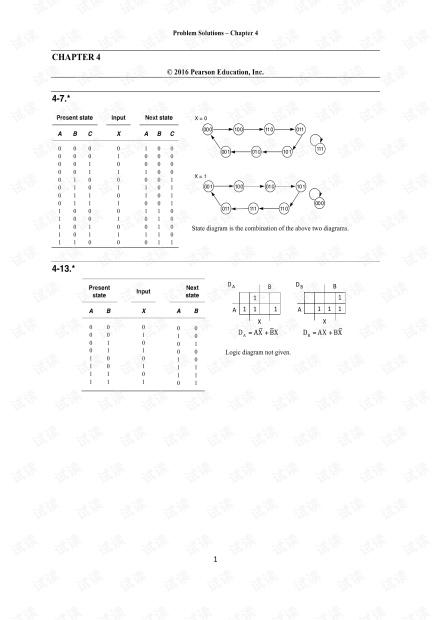 逻辑与计算机设计基础 第五版 第四章*习题答案