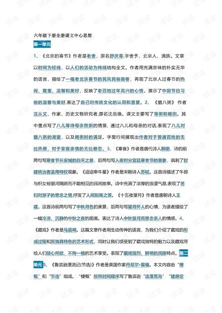 小学语文部编语文六年级下:全册课文中心思想整理.pdf