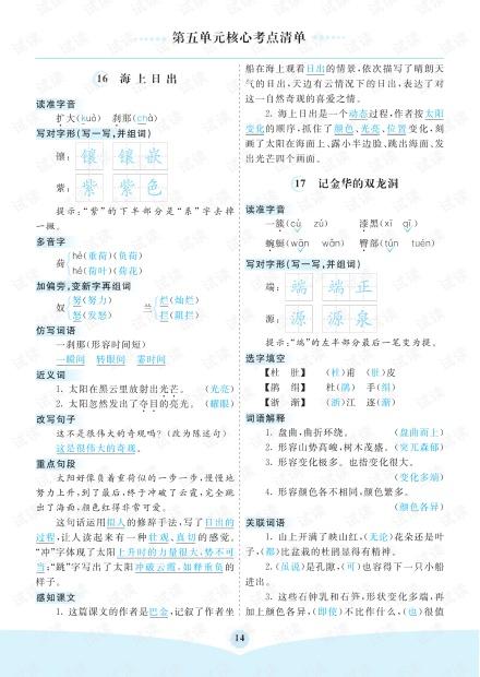 小学语文部编版4年级(下册)第5单元核心考点清单.pdf