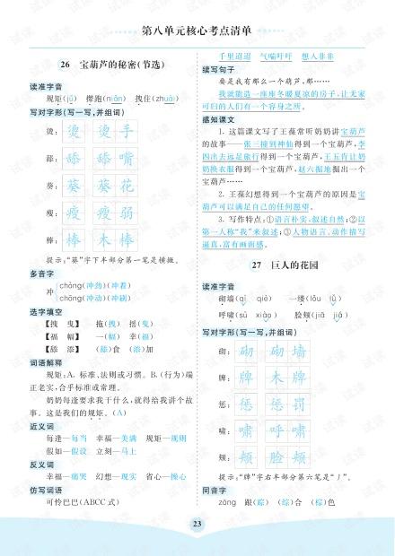 小学语文部编版4年级(下册)第8单元核心考点清单.pdf