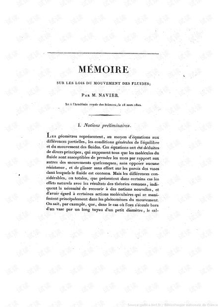 [流体力学经典]Navier. Memoire sur les lois du mouvement des fluides-1822.pdf