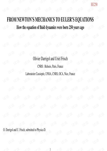 [流体力学史话]Darrigol O, Frisch, U. From Newton's Mechanics to Euler's Equations.pdf