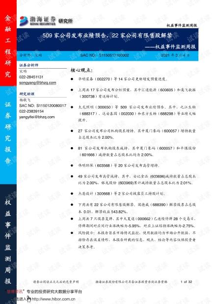 20210304-渤海证券-权益事件监测周报:509家公司发布业绩预告,22家公司有限售股解禁.pdf