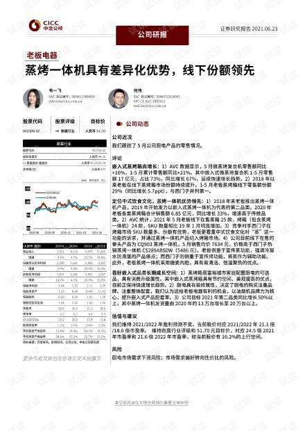 20210623-中金公司-老板电器-002508-蒸烤一体机具有差异化优势,线下份额领先.pdf