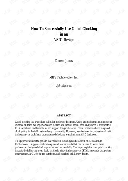 How To Successfully Use Gated Clocking in an ASIC design