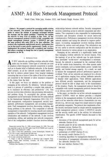 adhoc 网络管理协议