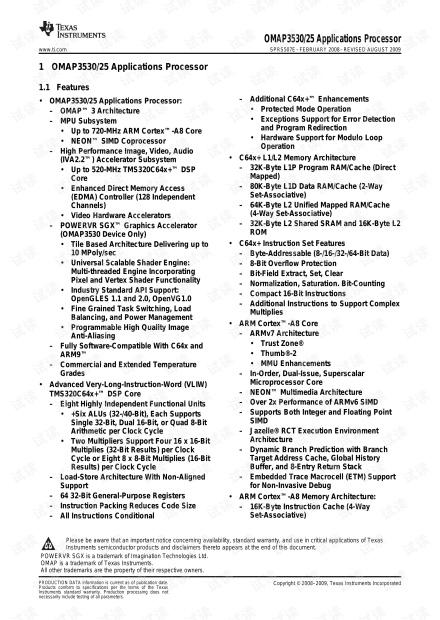 OMAP3530 Data Sheet