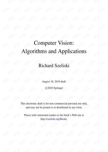 Computer_Vision Algorithms and Applications2010  :计算机视觉算法和应用
