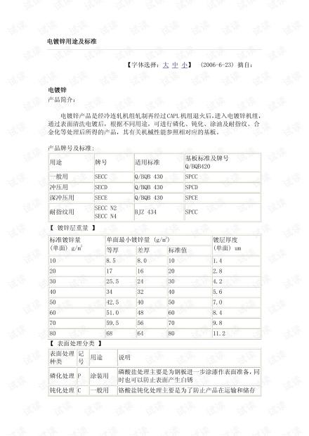 电镀锌用途及相关技术标准