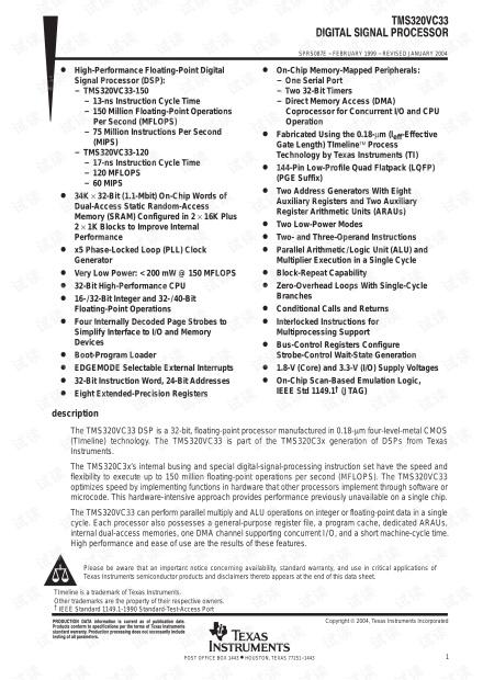 TI-datasheet-tms320vc33 TI-datasheet-tms320vc33