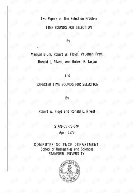 Blum、Floyd、Pratt、Rivest、Tarjan__Time bounds for selection.pdf