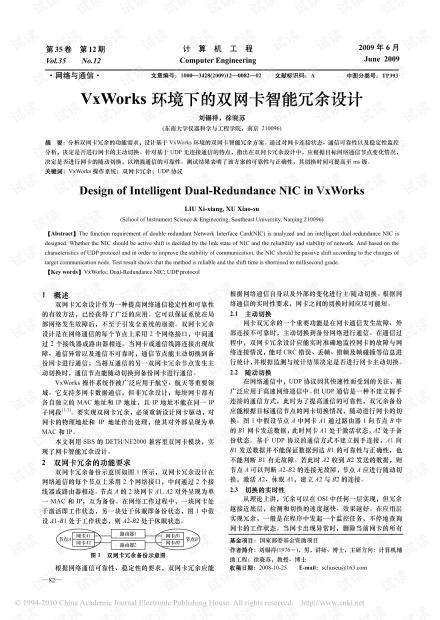 VxWorks环境下的双网卡智能冗余设计