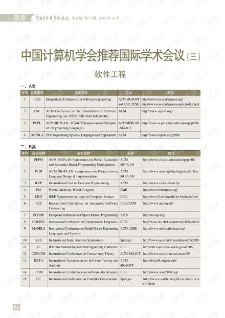 中国计算机学会推荐国际学术会议三