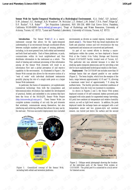 Sensor Web for Spatio-Temporal Monitoring of a Hydrological Environment