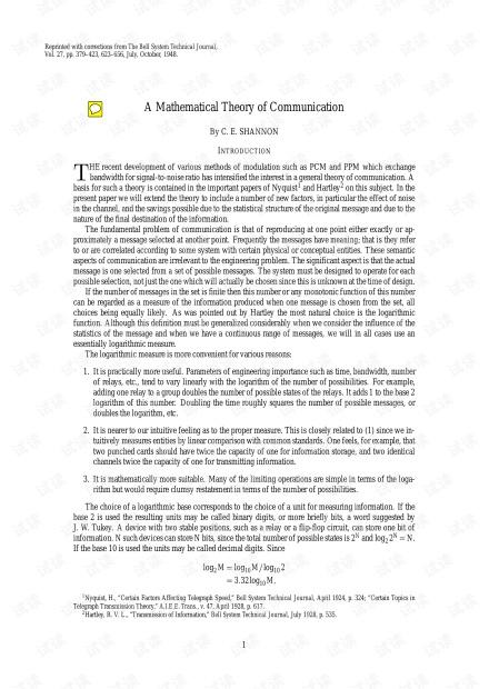 信息论之父Shannon的经典之作《通信的数学理论》(1948).pdf