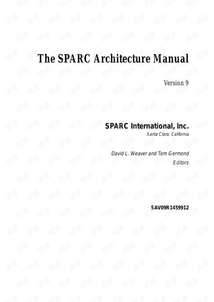 risc处理器sparc标准的第9版