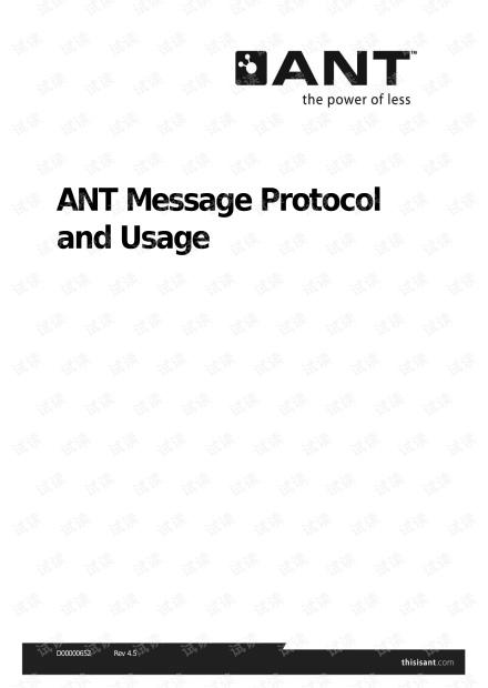 ANT 超低功耗无线传感网络