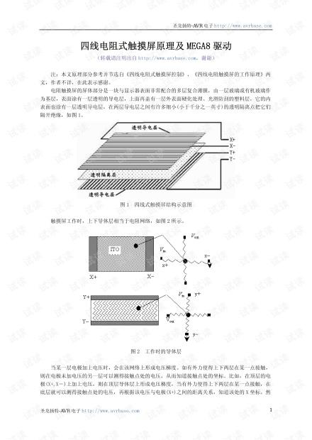 四线电阻式触摸屏原理及MEGA8驱动实例