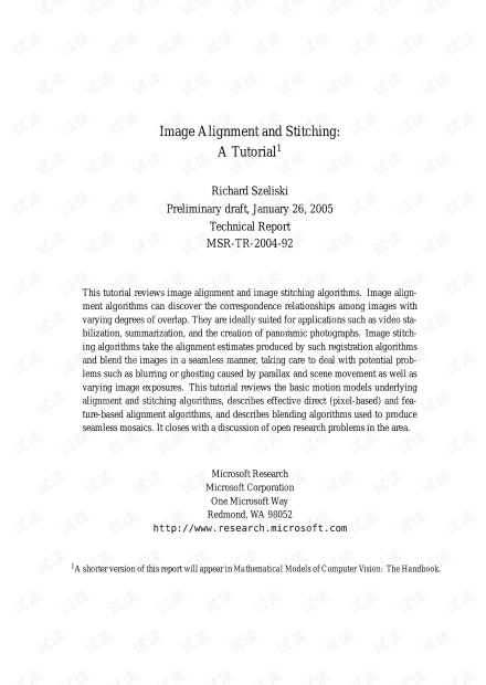 Image Alignment and Stitching:A Tutorial