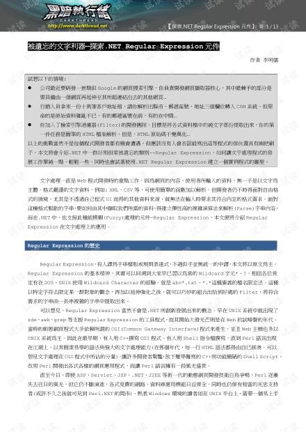.net 正则表达式英文版