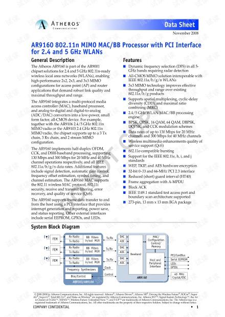 AR9160  data sheet