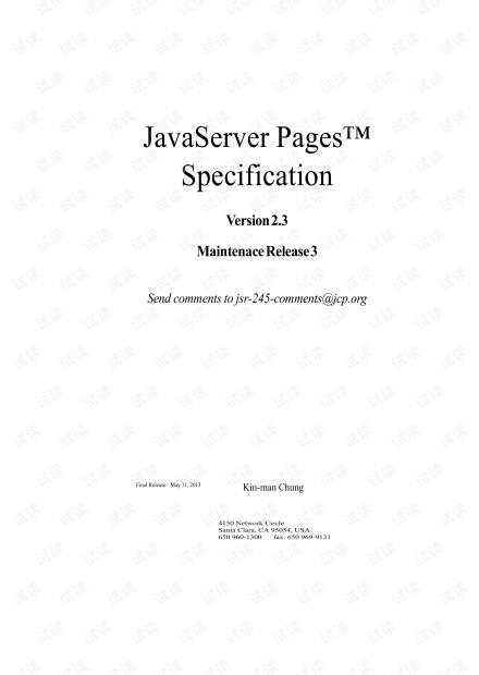 Java Server Pages Specification V2.3