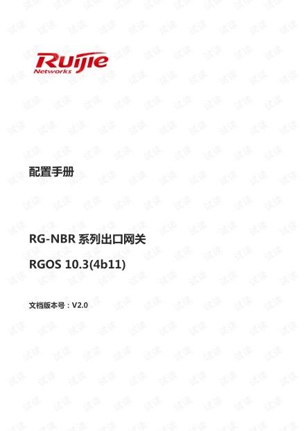 锐捷-NBR系列出口网关配置手册