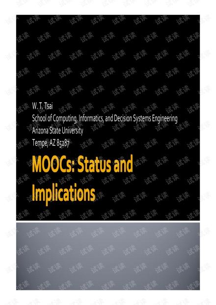 MOOCs:Status and Implications