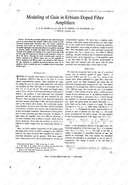1990-ptl-Modeling of gain in erbium-doped fiber amplifiers.