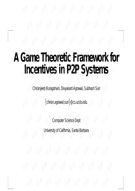 Framework for Incentives in P2P
