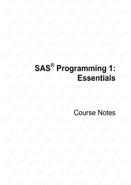 SAS Programming 1 Essentials.2009