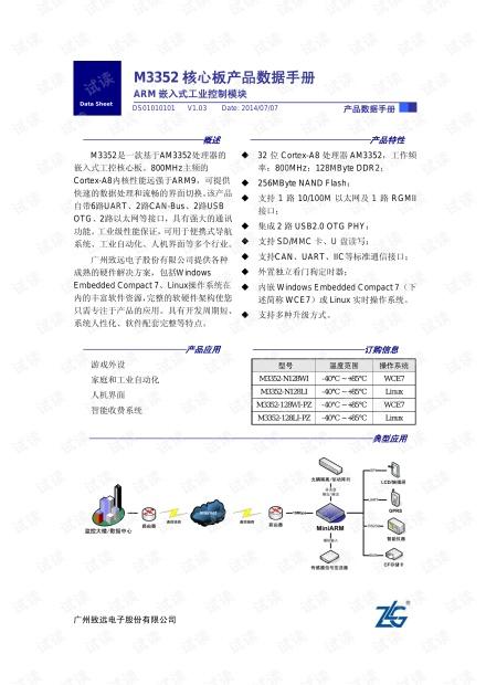 M3352核心板产品数据手册 V1.03