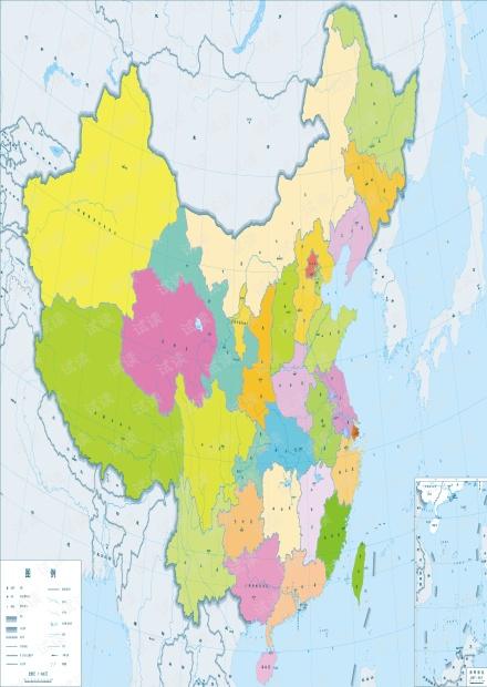 中国行政区划彩色高清晰矢量地图(400万)