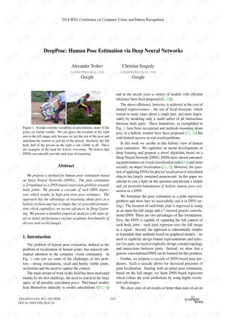 DeepPose-Human Pose Estimation via Deep Neural Networks