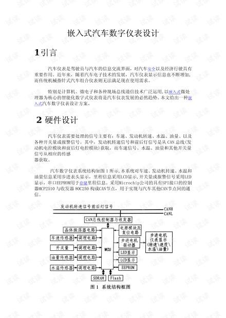 嵌入式汽车数字仪表设计例子