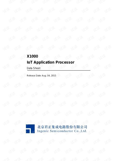 北京君正X1000芯片手册