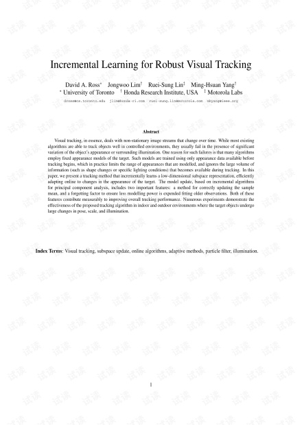 Incremental Learning for Robust Visual Tracking.