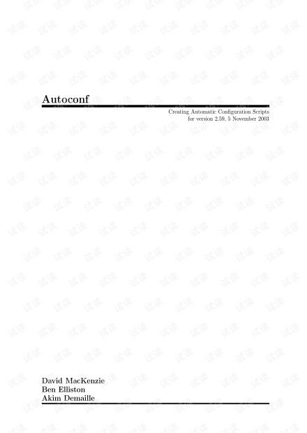 autoconf - Creating Automatic Conguration Scripts