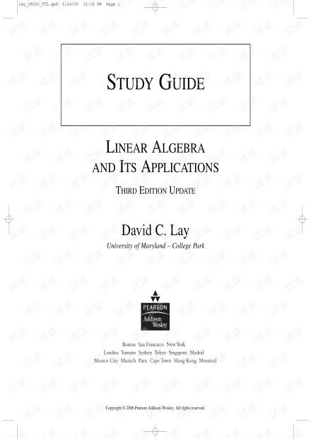 线性代数及其应用 第三版 课后答案